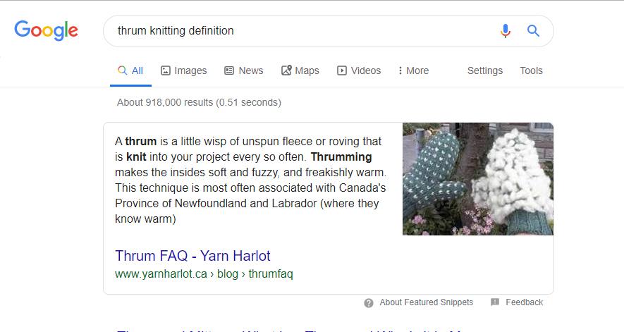 英語版グーグル「thrum」定義の検索結果