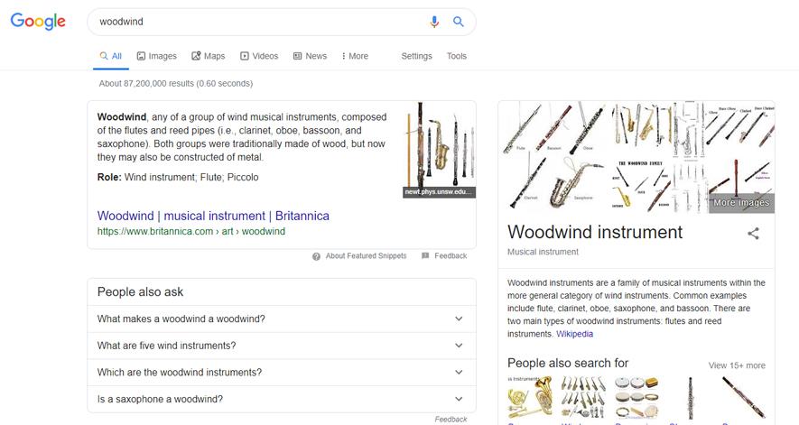 英語版グーグル「woodwind」検索結果