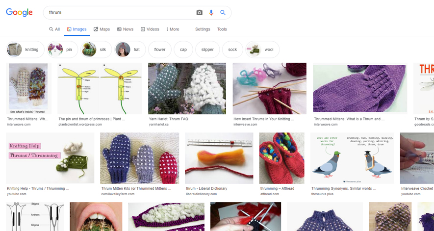 英語版グーグル「thrum」画像検索結果