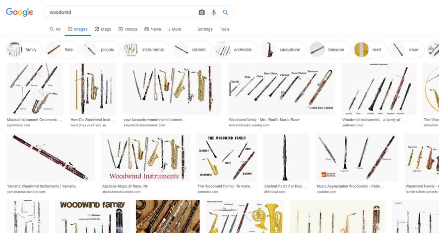 英語版グーグル「woodwind」画像検索結果