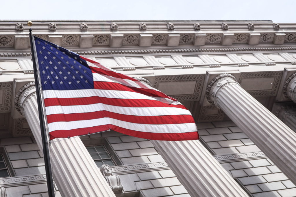 たなびくアメリカ国旗