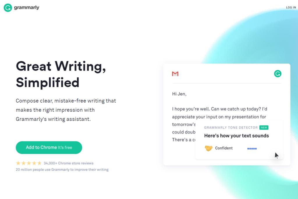 『Grammarly』公式ホームページのトップ画面