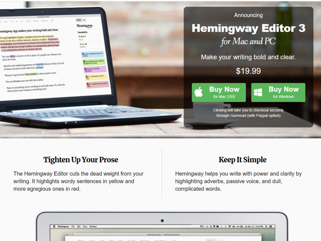 『Hemingway Editor』購入画面