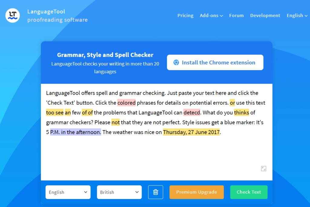 『LanguageTool』トップ画面