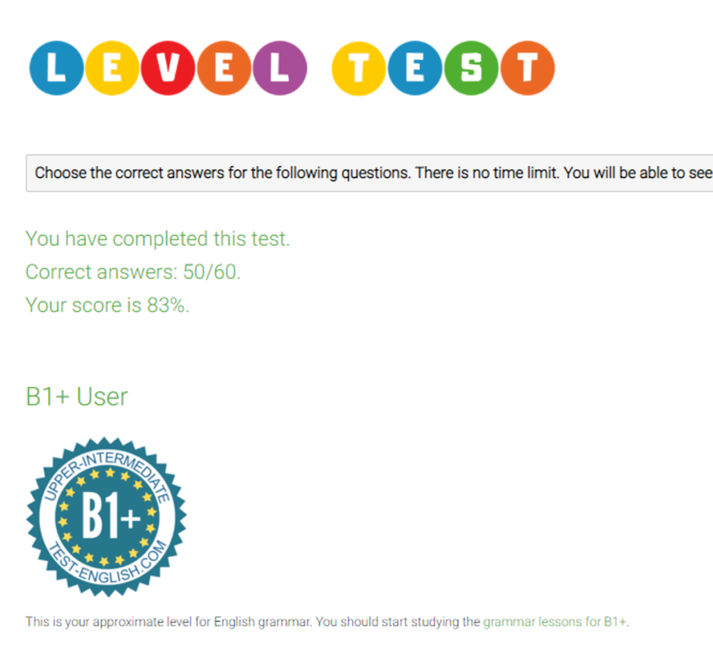 Test Englishの結果