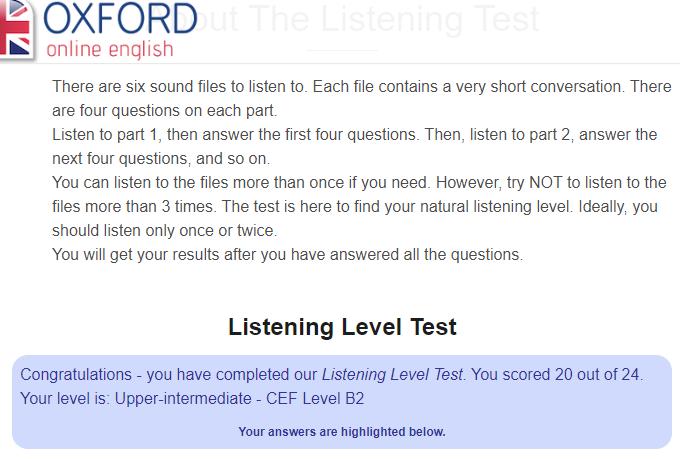 Oxfordのリスニングテスト結果