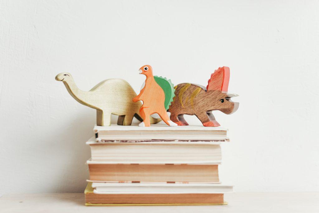 恐竜の積み木と本