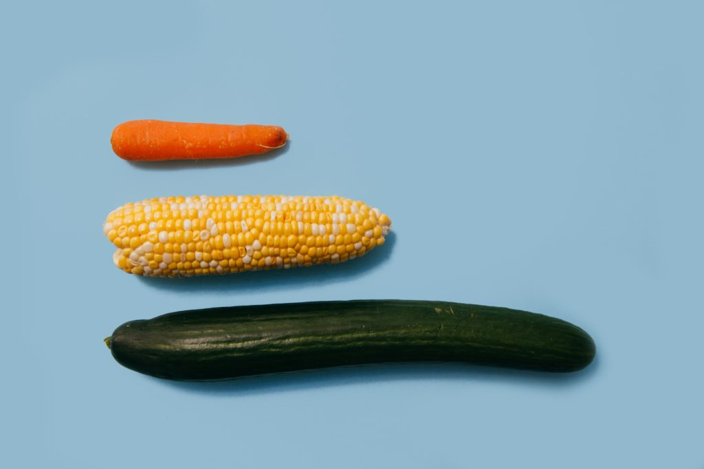 並べられたニンジンとトウモロコシとズッキーニ
