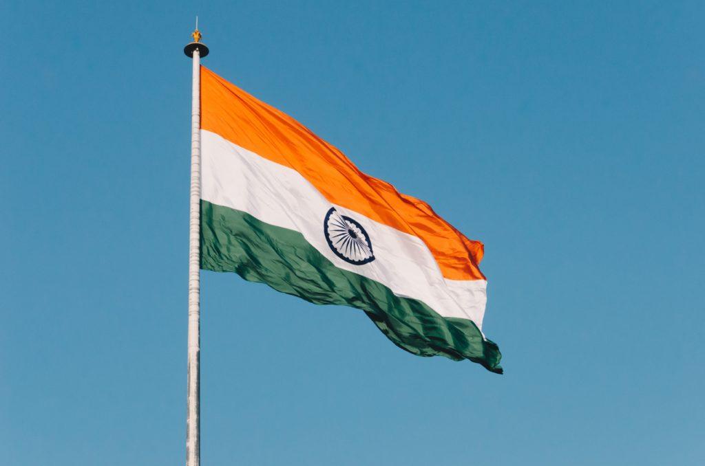 たなびくインドの国旗