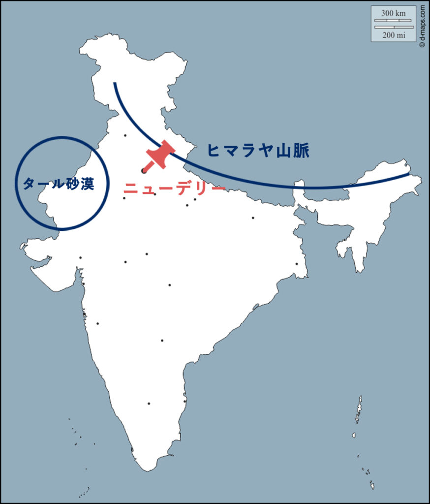 ニューデリーの地理に関する地図