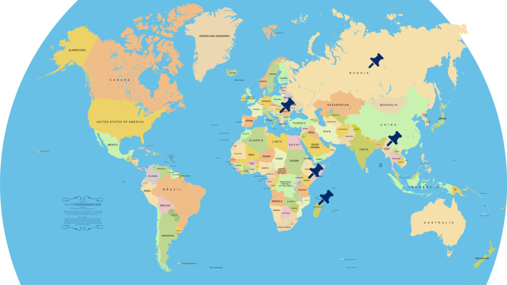 米津玄師「Flamingo」調査対象国の地図