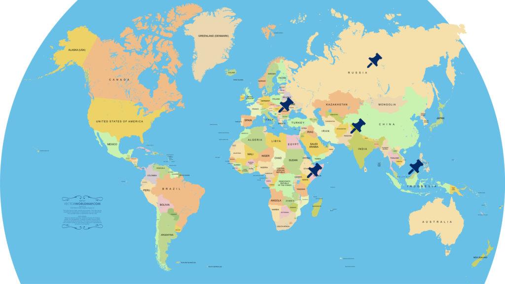 米津玄師「Lemon」調査対象国の地図