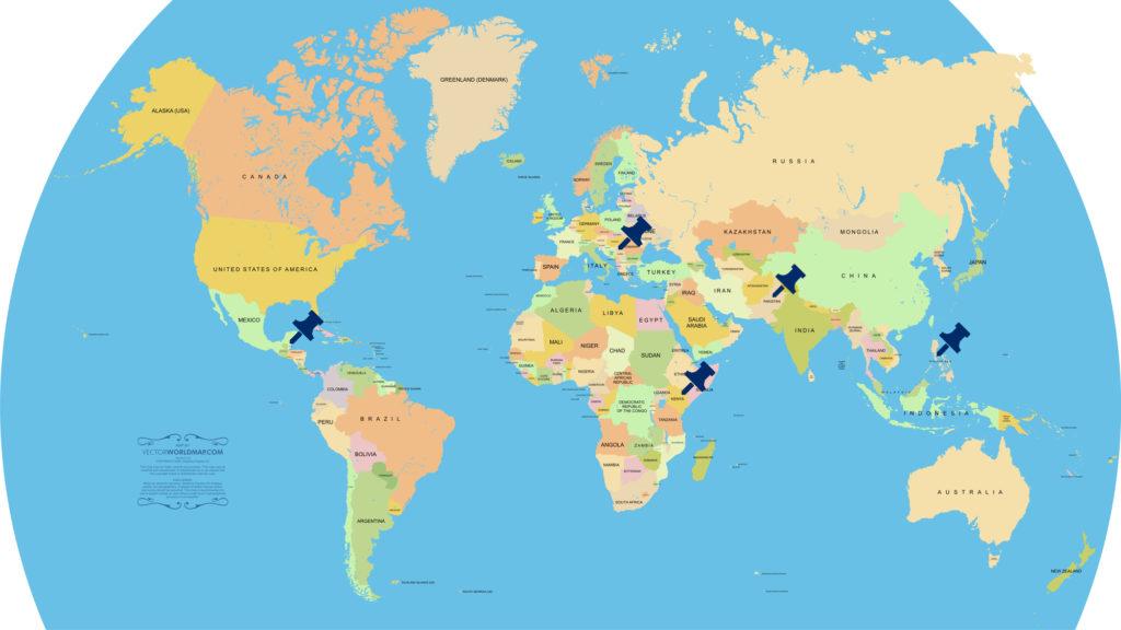 Foorin team E「Paprika」調査対象国マップ